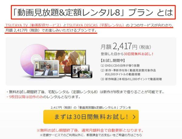 ツタヤTV(TSUTAYA TV)の「動画見放題&定額レンタル8」プラン
