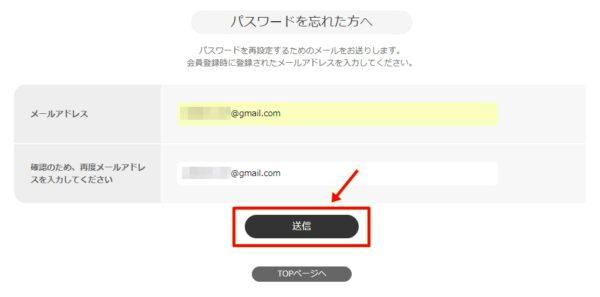 ビデオマーケットメールアドレス入力画面