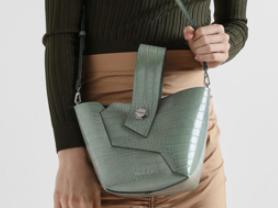 CHARLES & KEITH Croc-Effect Wristlet Handle Bucket Bag