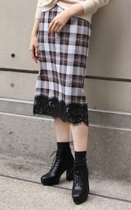 RANDA/裾レースタイトスカート