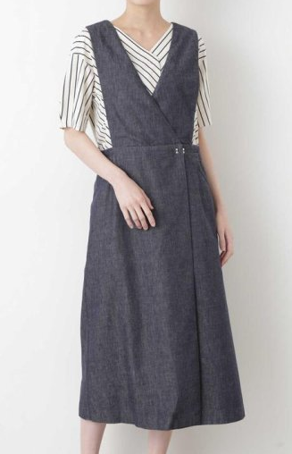 HUMAN WOMAN 反応染めデニムジャンパースカート