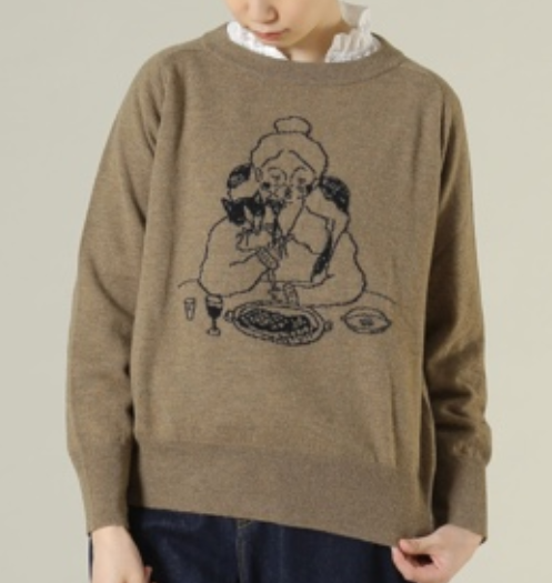 ADIEU TRISTESSE LOISIR / イラストジャカードセーター