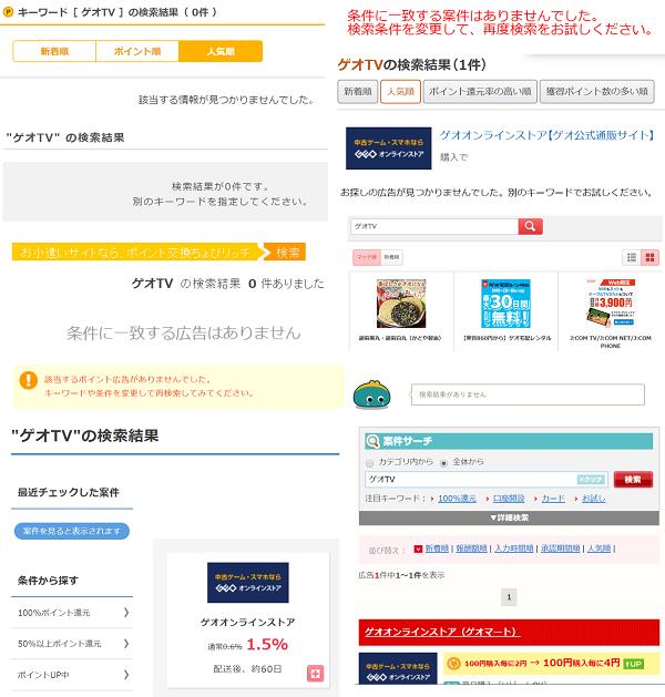 ゲオTV ポイントサイトの検索結果